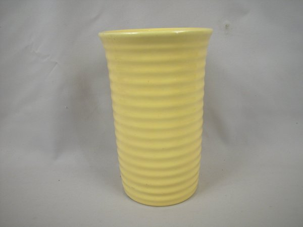 "1: Bauer Pottery Ringware 8 1/2"" yellow vase, minor rim"