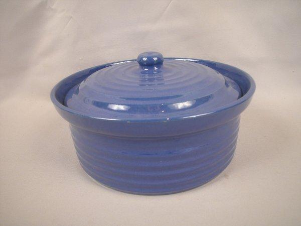 "2: Bauer Pottery Ringware 9 1/2"" cobalt casserole"