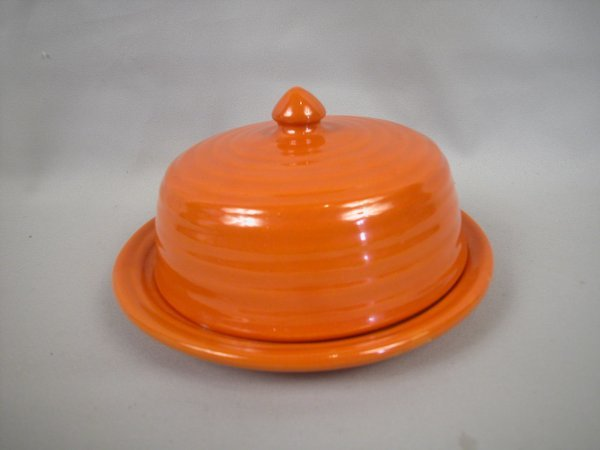 3: Bauer Pottery Ringware covered round red butter dish