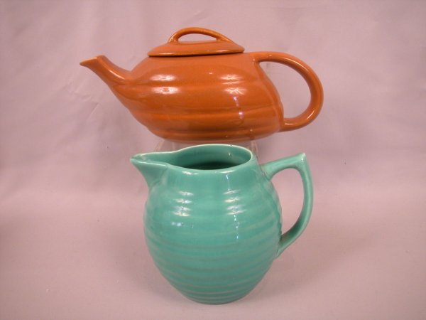 7: Bauer Pottery brown teapot, nick to spout, AND green