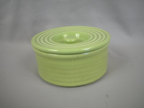 17: Bauer Pottery Ringware chartreuse stack refrigerato
