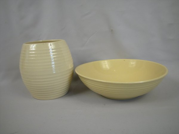 """19: Bauer Pottery ivory cookie jar (no lid), and 12"""" iv"""