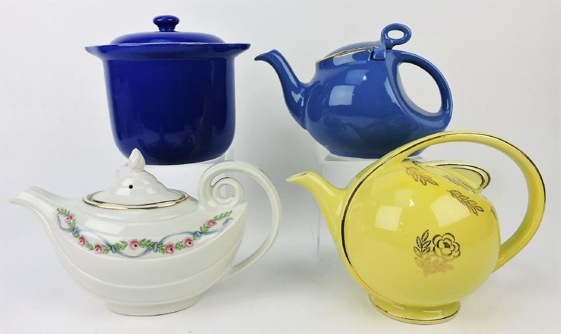 Hall China lot of 3 teapots and