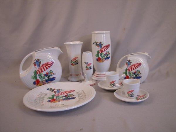 "4: Post 86 Fiesta group - Sun Porch pattern - 8"" vase;"