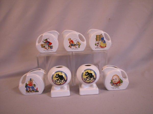 7: Post 86 Fiesta white mini disk pitchers with Nursery
