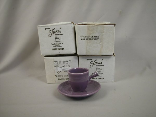 24: Post 86 Fiesta Lilac set of 4 AD cups and saucers,
