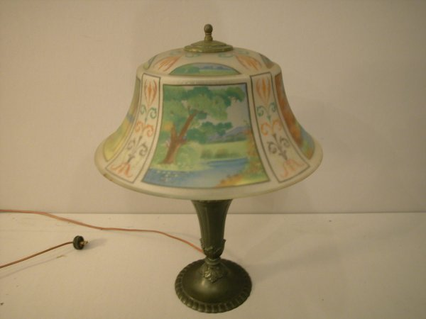 "1264: PAIRPOINT table lamp with reverse painted 17"" sha"