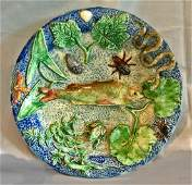 French Palissy majolica dish probably