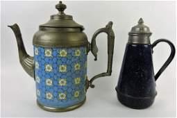 Enamel porcelain coffee pot and blue