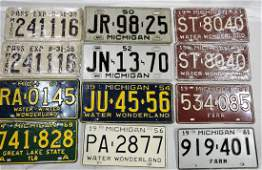 Michigan group of license plates
