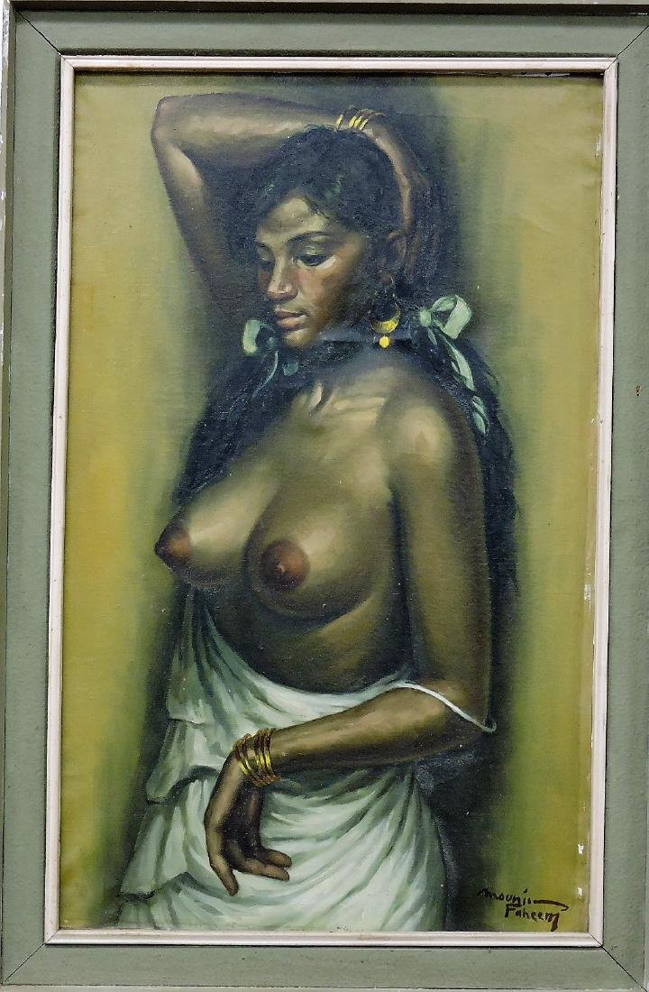 Oil on canvas of nude African woman