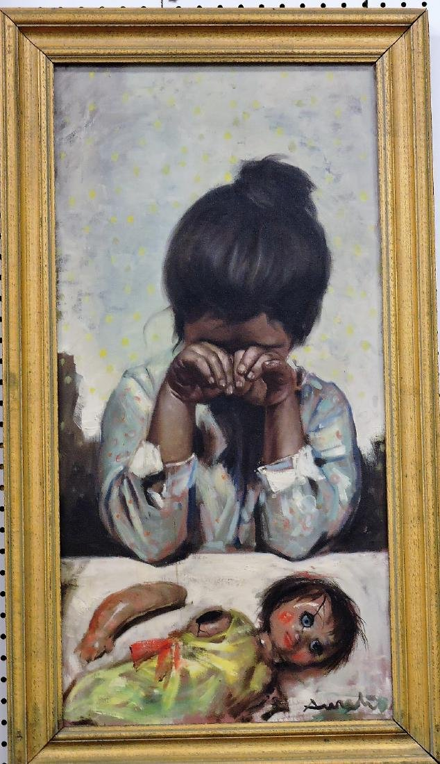 Oil on canvas of Spanish crying girl