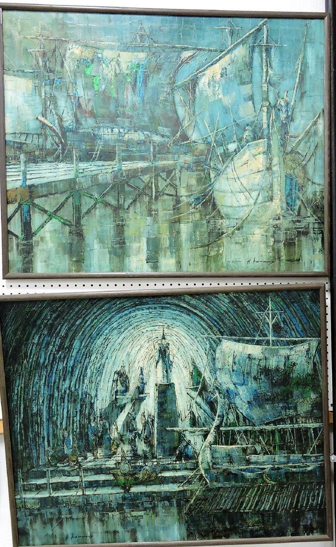 Pair oil on canvas of harbor scenes,