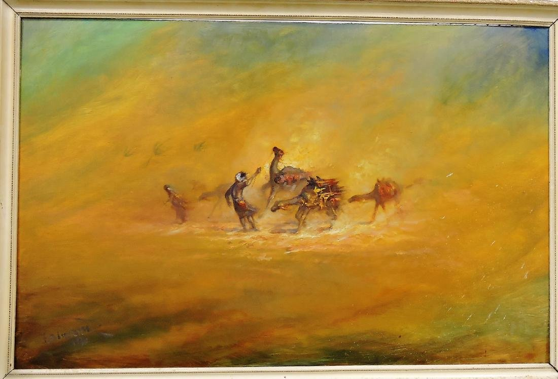 Oil on canvas of Middle Eastern