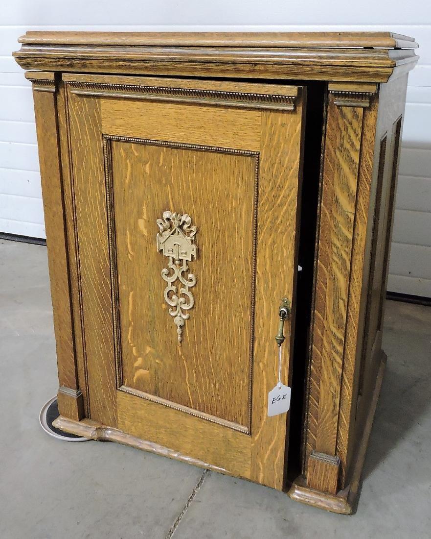 """Oak sewing machine cabinet, 30""""h,"""