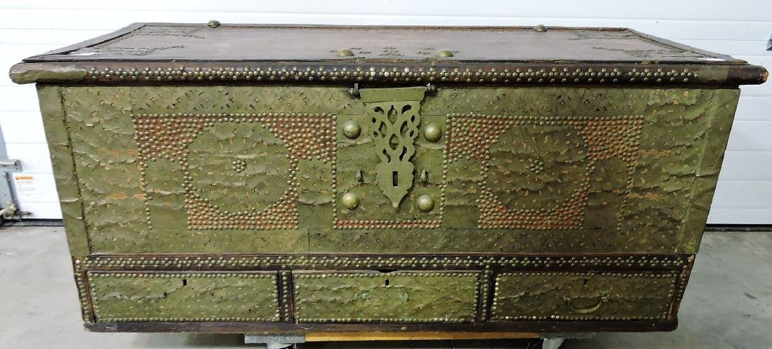 Early Kuwaiti chest with brass plates and