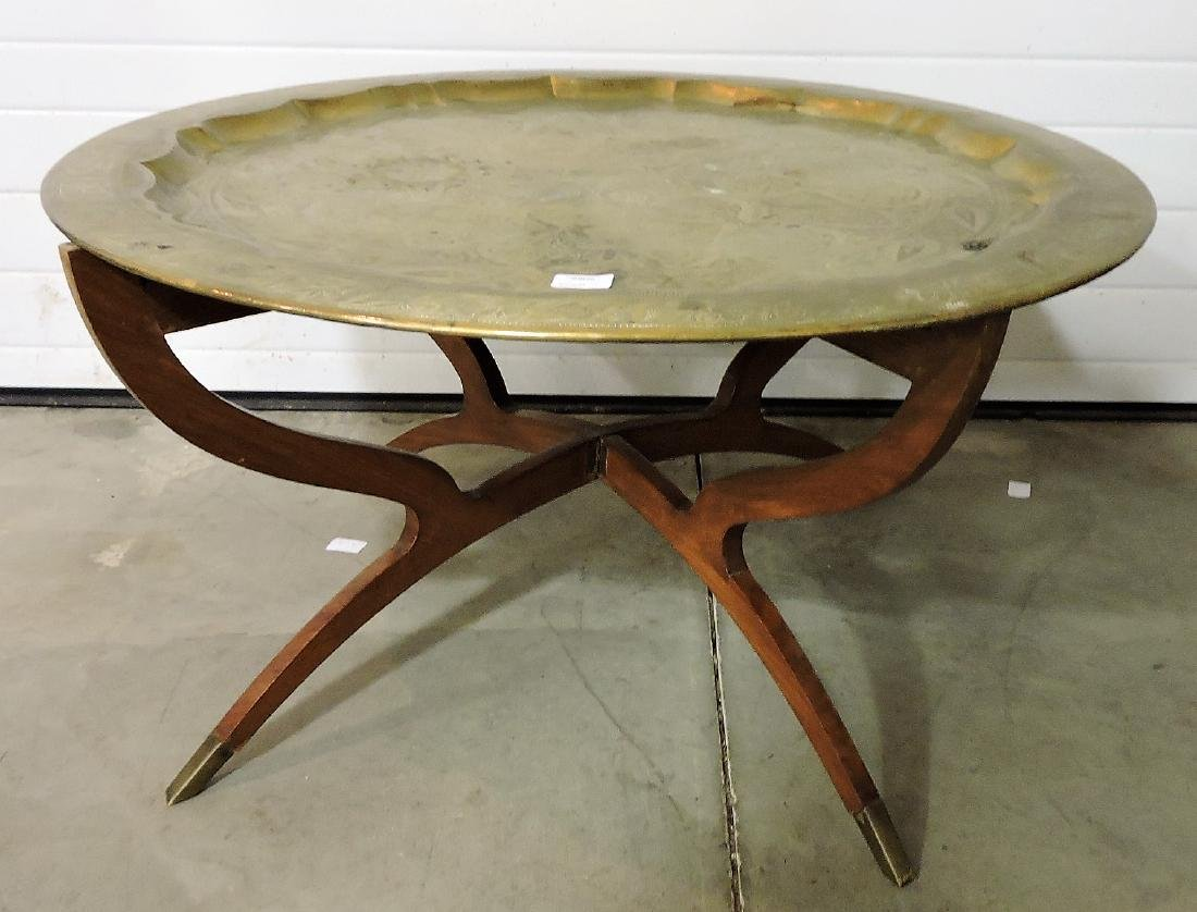 """Brass top coffee table, 34""""d"""