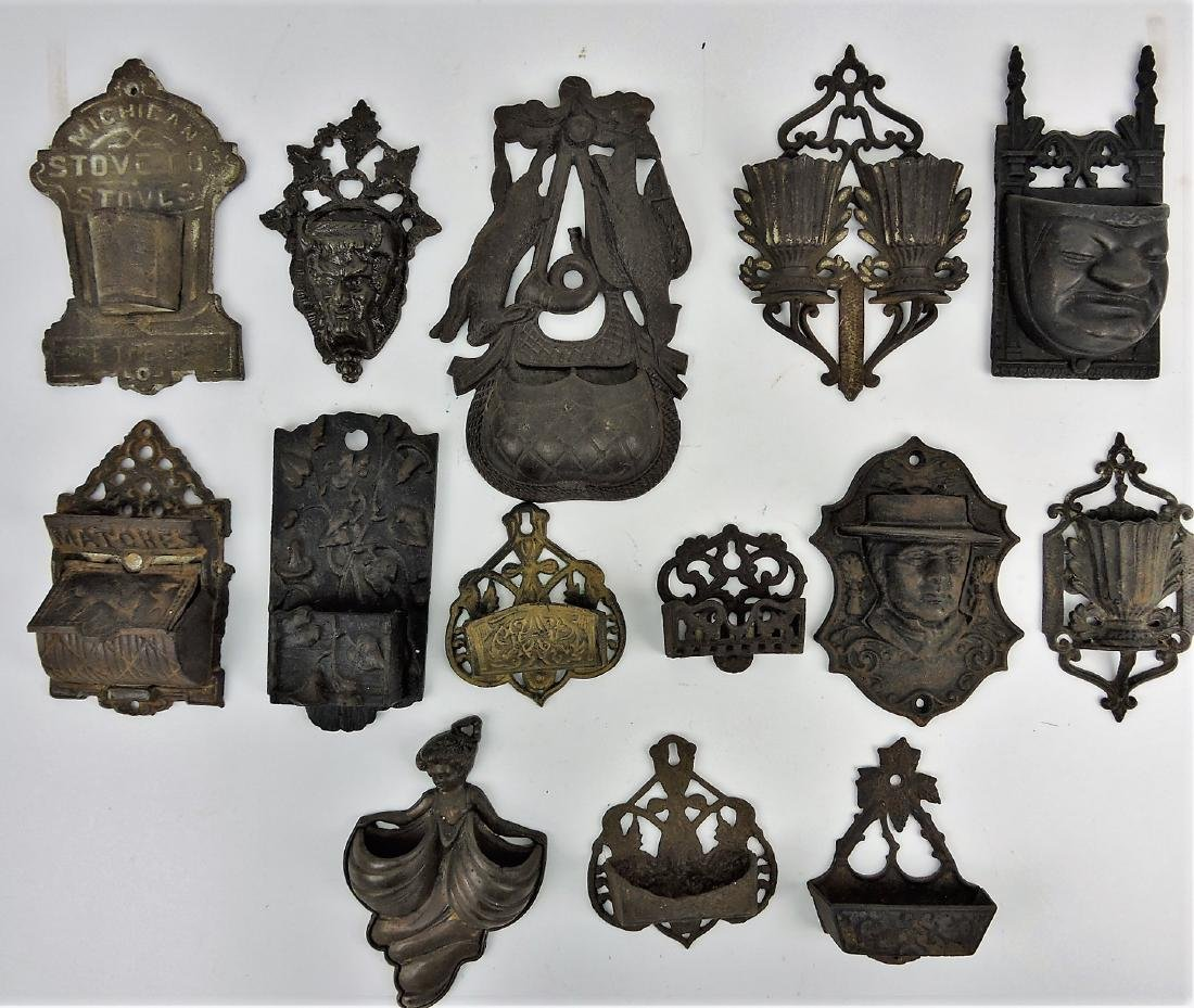Cast iron wall match safe collection