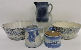 Blue & white stoneware lot of 5