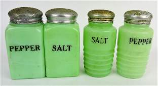 Jadeite lot of 2 pair salt & pepper