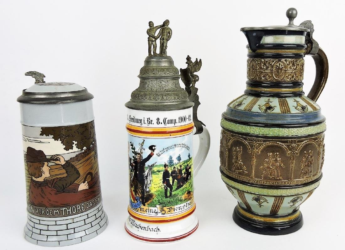 German lot of 3 steins; Mettlach