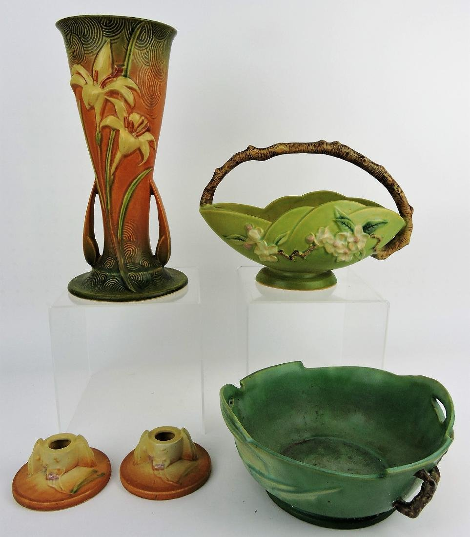 Roseville pottery lot of 4 pieces;