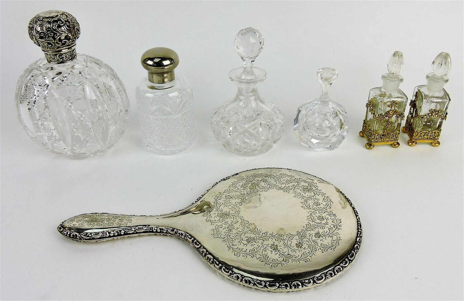 Perfume bottle lot of 6 and silver hand
