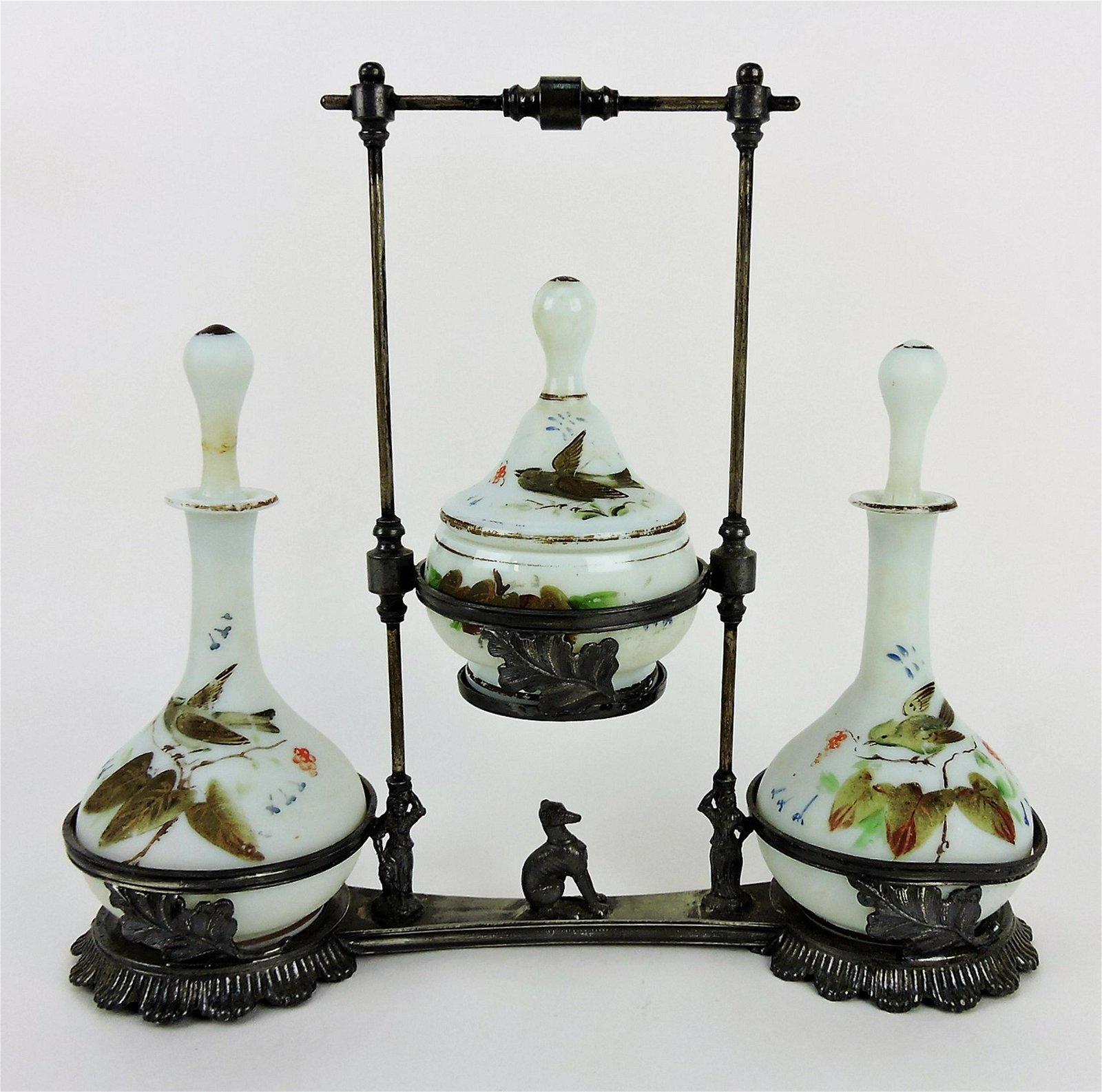Victorian dresser set with satin