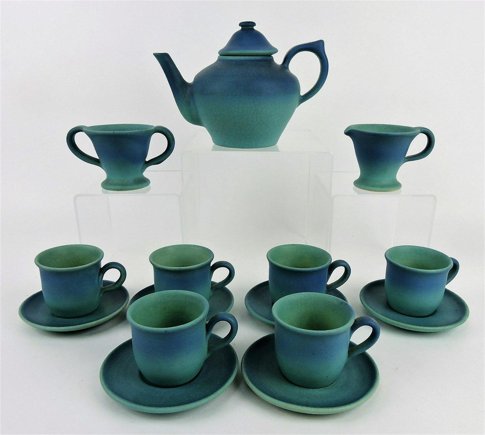 Van Briggle blue tea set with teapot,