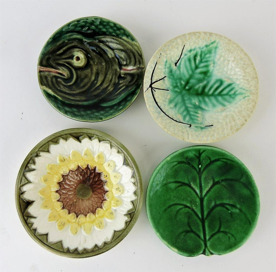 Majolica lot of 4 butterpats