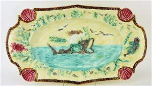 French majolica large seafood platter