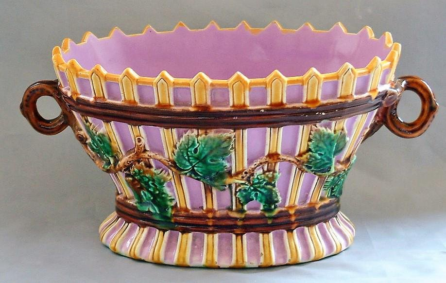 George Jones majolica basket with