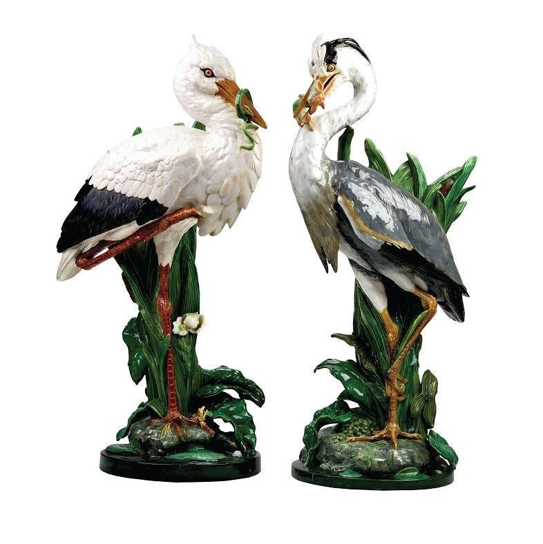 Minton majolica stork and heron