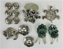 Sterling silver lot of Indian jewelry;