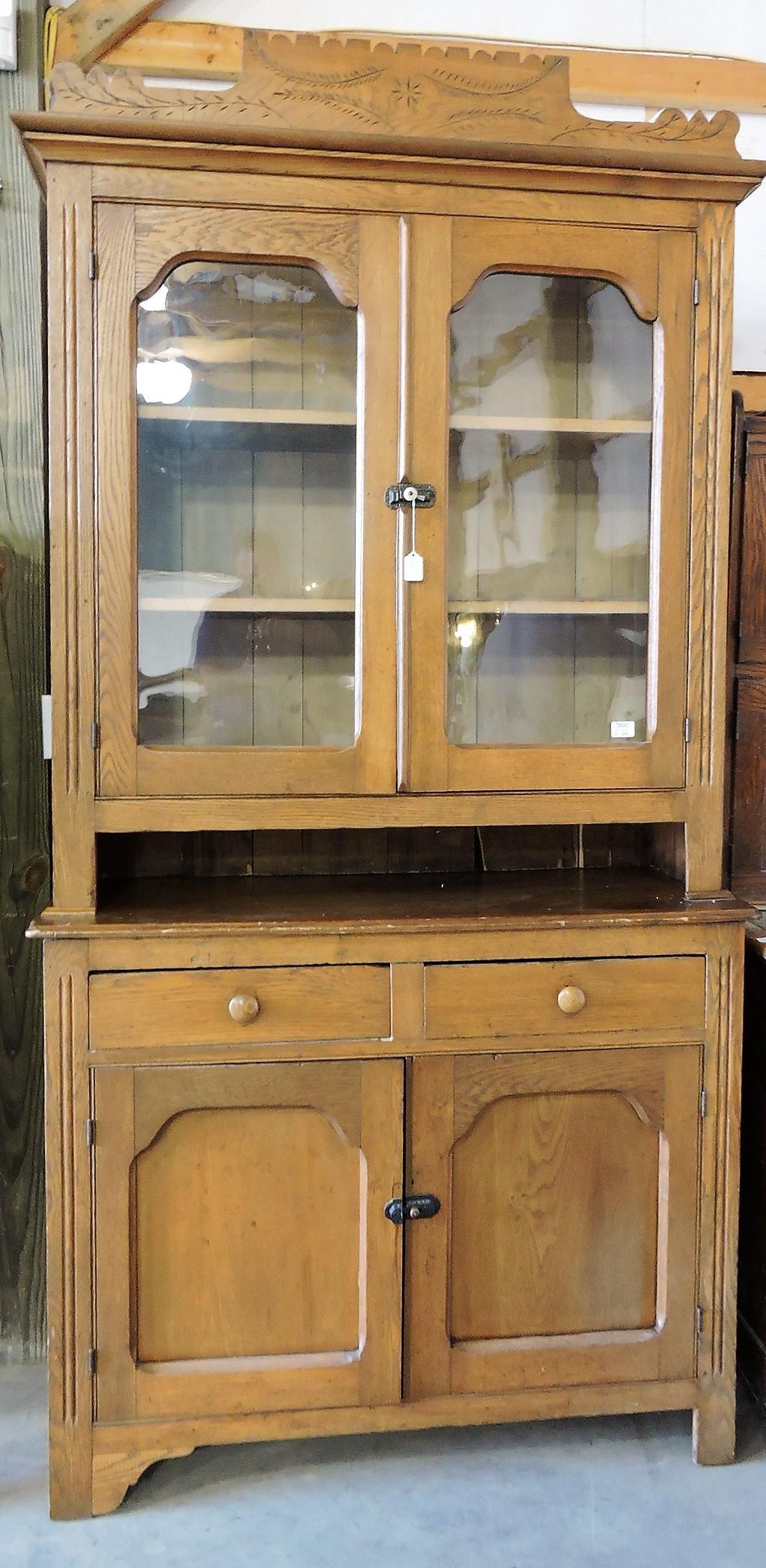 Oak 2 piece step back cupboard,