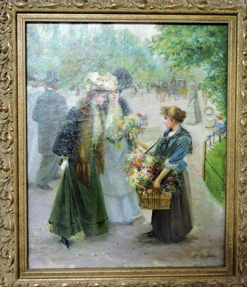 French oil on canvas of flower girl