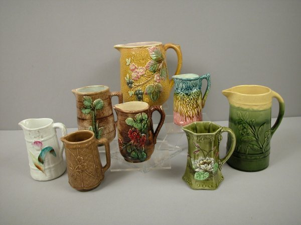 1: Majolica group of 8 pitchers, various condition, nic