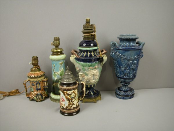 22: Majolica group of 3 lamps, vase and stein, various