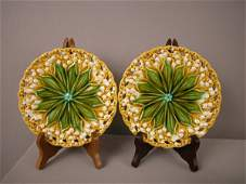 206 Majolica Pair of Villeroy and Boch yellow lily of