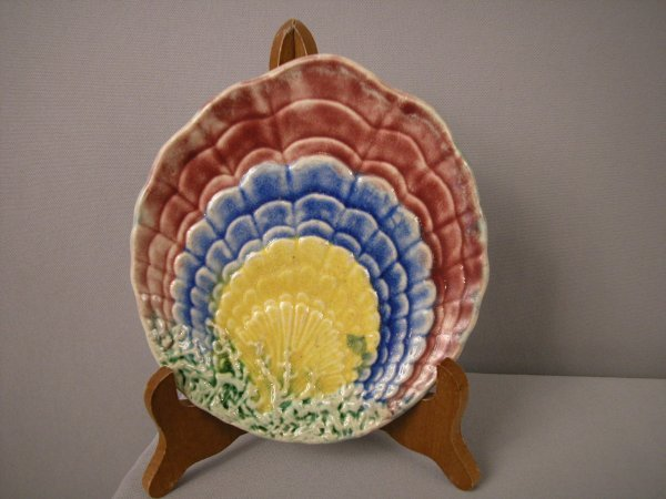 211: Majolica TENUOUS multi-color shell shaped plate, n