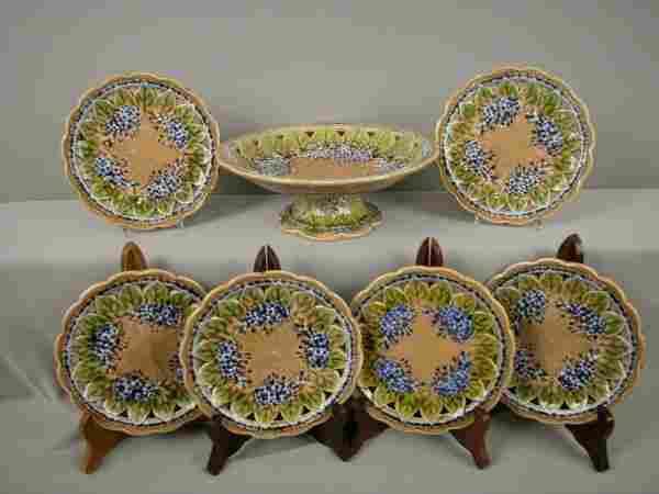 253: Majolica Villeroy & Boch 7 piece dessert set with