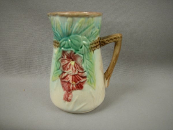 """407: Majolica Floral and wheat cream pitcher, 4 3/4"""""""