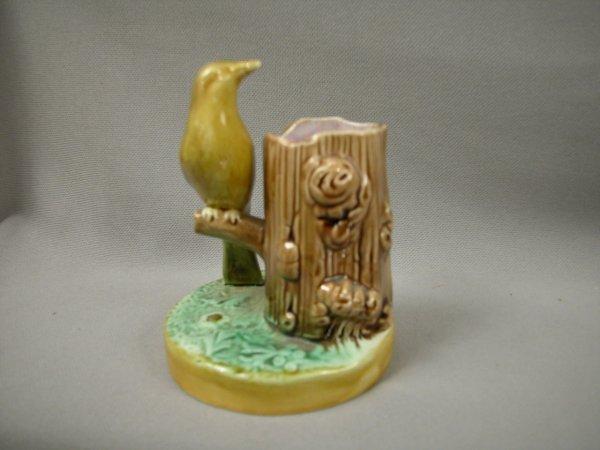 422: Majolica Bird and tree stump figural toothpick hol