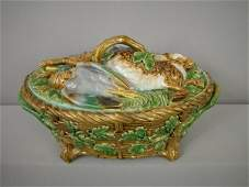 796 Majolica MINTON game tureen in the form of a baske