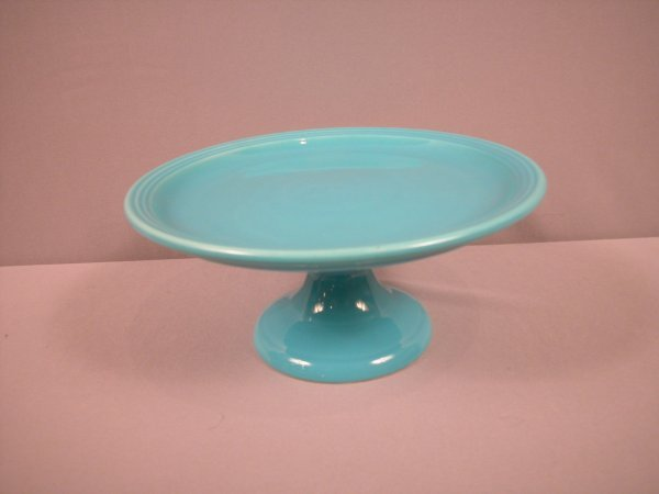 1018:    Fiesta Bauer Pottery ringware cakestand, turqu