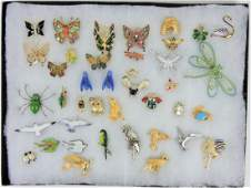 Jewelry lot of brooches birds insects
