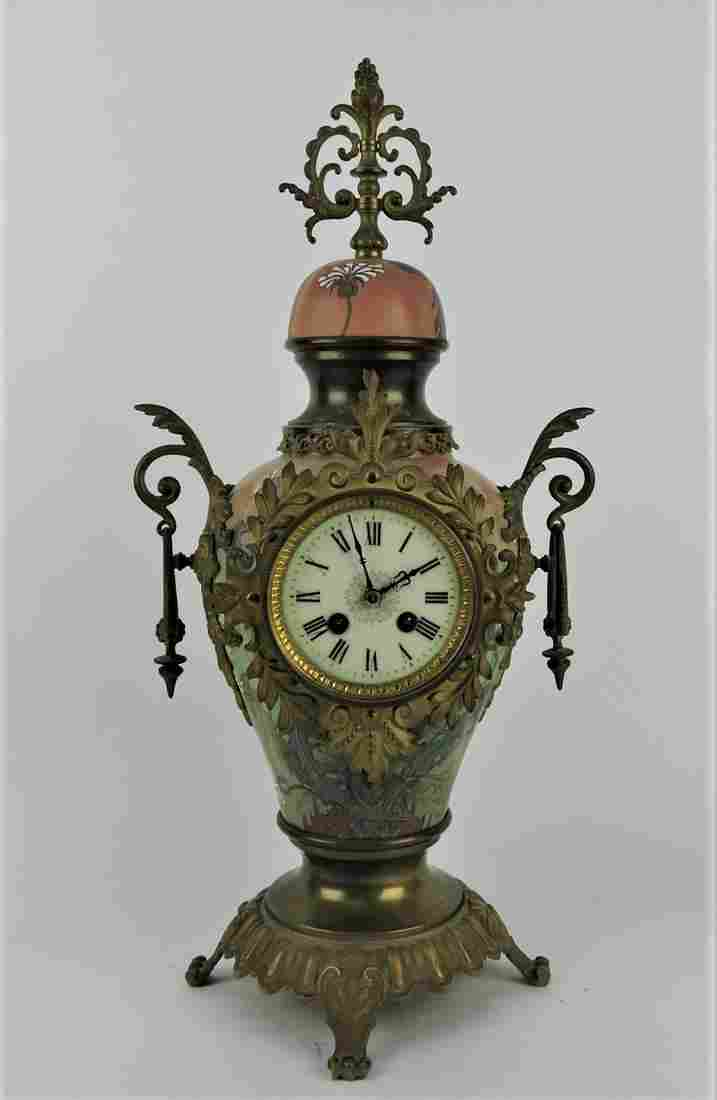 French brass ormolu and porcelain