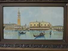 A. Trenisa watercolor of Venice, Italy harbor,