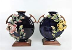Majolica pair of flat moon vases with