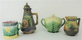 Etruscan majolica lot of 4 pieces,